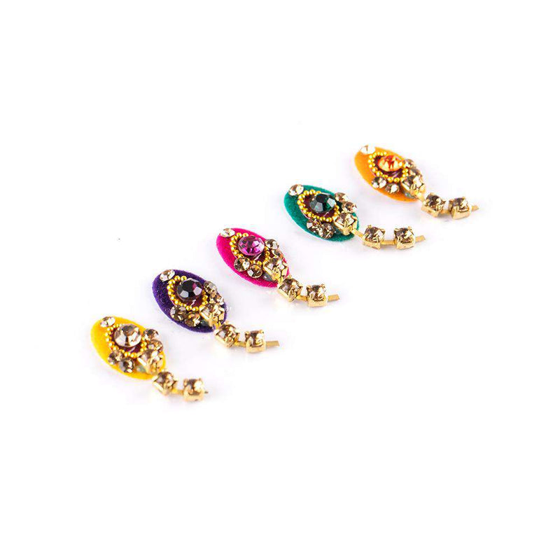 Sunaina Designer Collection Oval Latkan Bindi - 9mm-Bindi-Orange Something