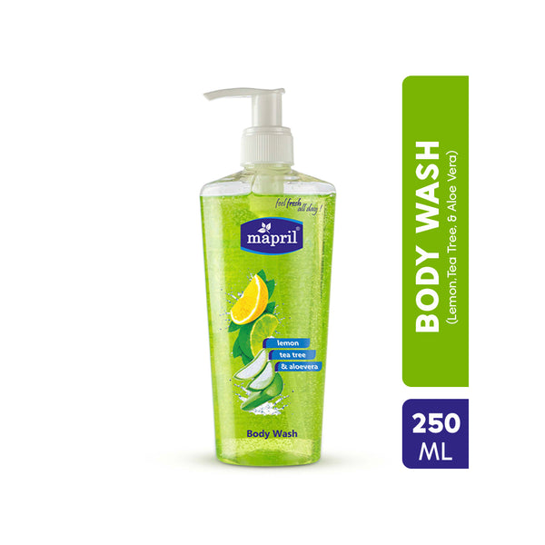 Mapril Refreshing Bubble Burst Body Wash with Lemon, Tea Tree & Aloe Vera - Orange Something