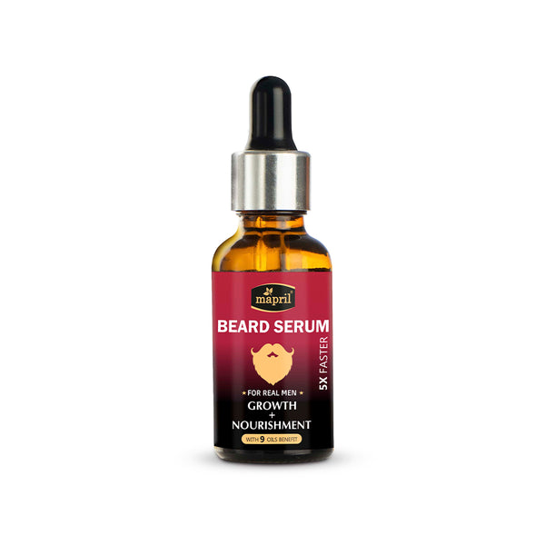 Mapril Beard Serum - Growth & Nourishment with 9 Essential Oils (30 ml) - Orange Something
