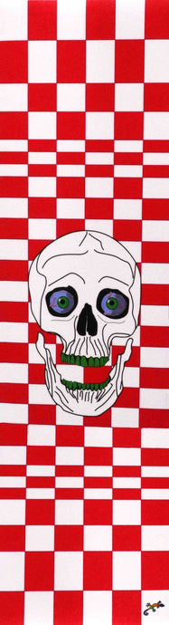 Red and white checked pattern and skull - Grip Tape 9