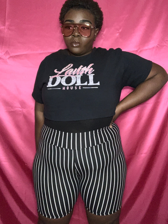 I Got The Juice Striped Plus Size Biker Shorts