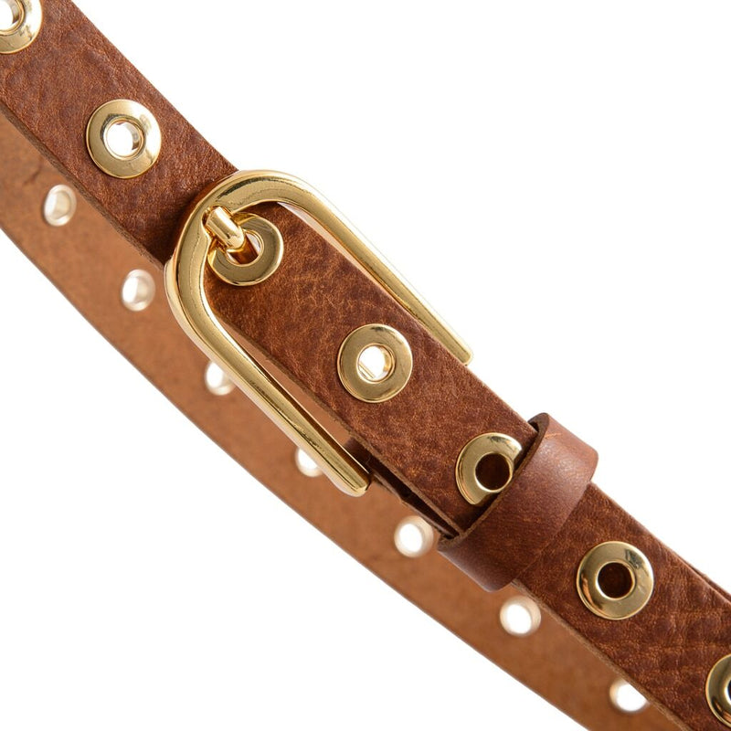 Narrow Belt Studs Brown