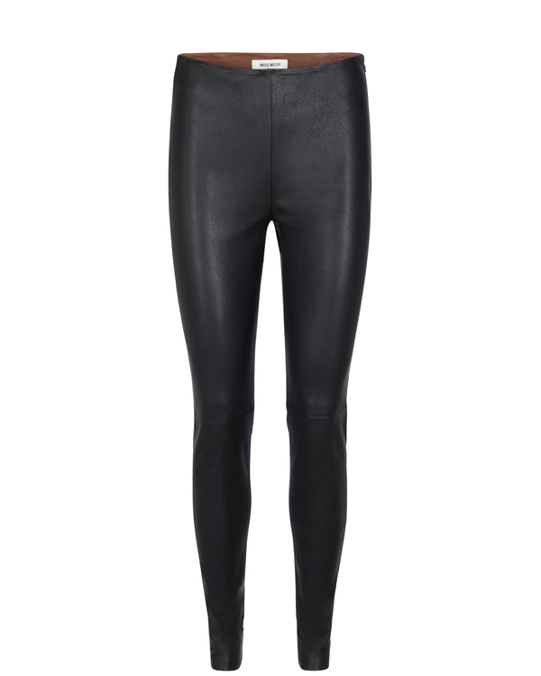 Lucille Stretch Læder Leggings Black