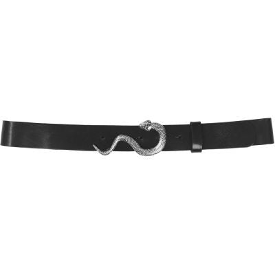 Gwen Leather Belt Noir Silver