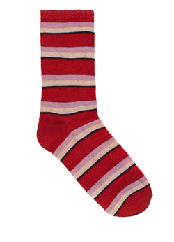 Dina Summer Stripe Sock Red Love
