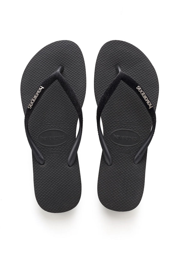 Havaianas Slim Logo Metallic Klipklapper Black Gold