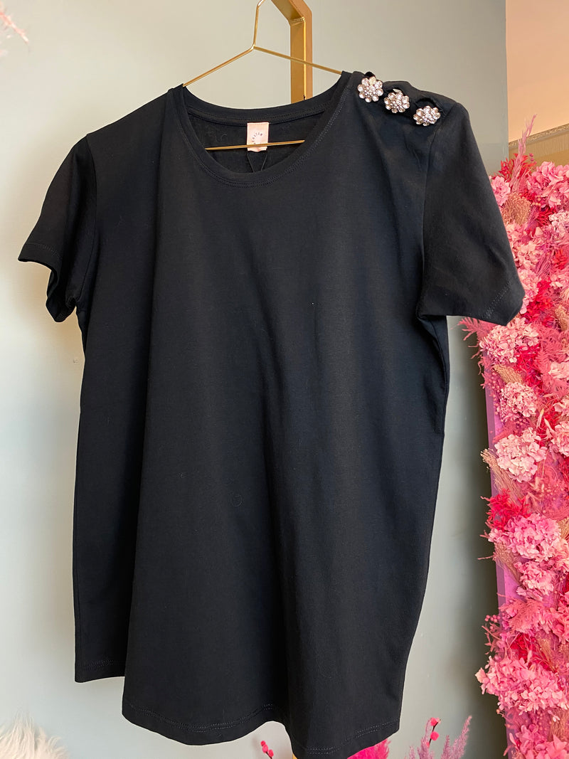 Custommade Molly Crystal T-Shirt Anthracite Black