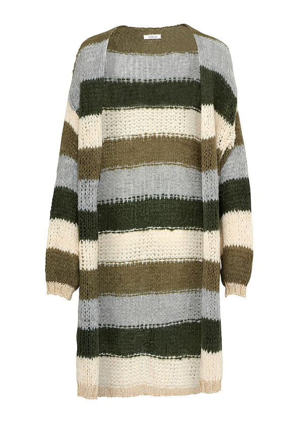 Noella Kala Long Cardigan Army Beige Stripes