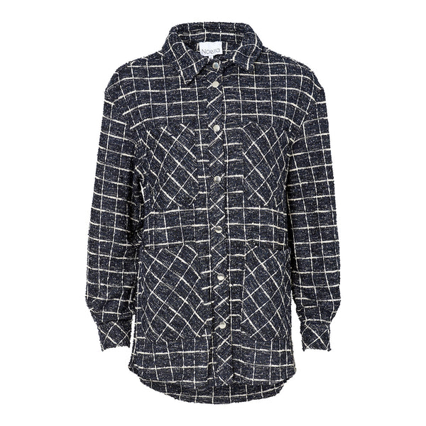 Noella Dillon Skjortejakke Boucle Navy/Black Checks
