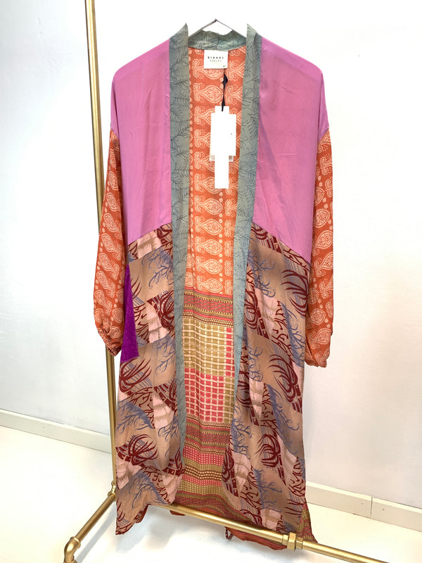 Sissel Edelbo Long Silk Pocket Kimono Purple Mix