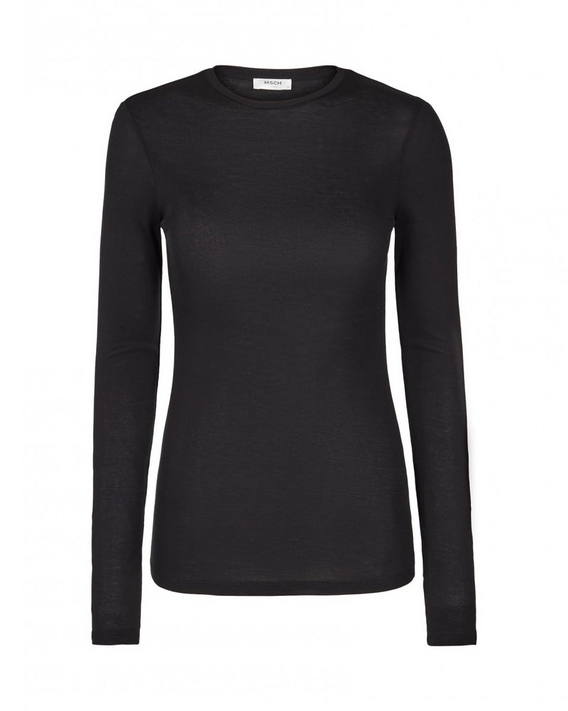 Mona Lyocell O Long Sleeved Top Black