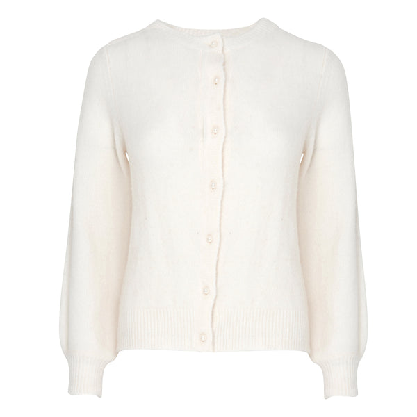 Noella Tania Pearl Button Cardigan Cream