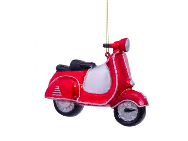 Vondels Glas Ornament Rød Scooter