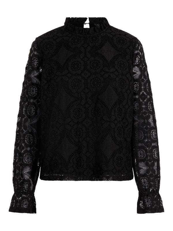 Yasluna Long Sleeved Lace Top Black