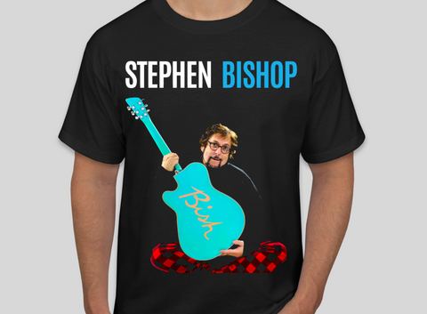 "Stephen Bishop: ""Guitar/Life's a Bish"" T-Shirt. Official Stephen Bishop Tour Merchandise. Includes the phrase, ""Life's a Bish,"" on the back of T-Shirt."