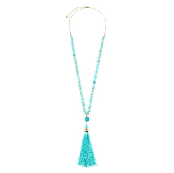 Turquoise Natural Stone Necklace with Silk Tassel