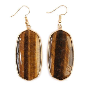 Brown Natural Stone Oval Earrings