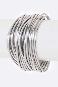 Metallic Leather Magnetic Bracelet - Silver