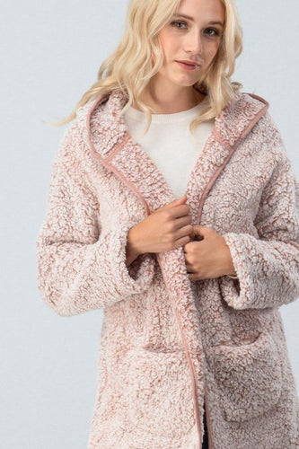 Mauve Fleece Long Coat with Hood