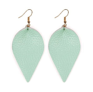 Light Mint Leather Leaf Earrings