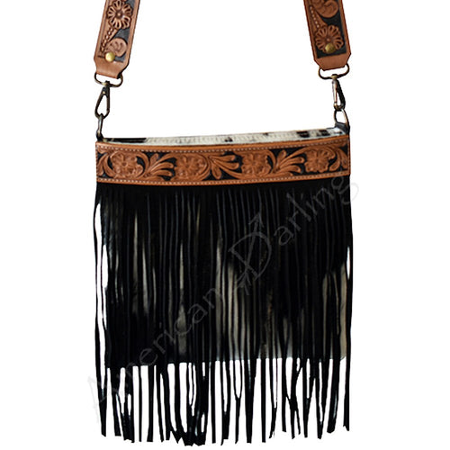 American Darling - Purse - Hair On Black and White Cowhide with Black Fringe