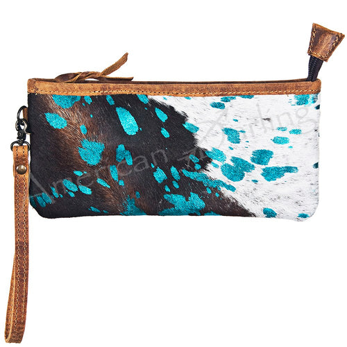 American Darling - Wallet - Hair on Cow Hide with Turquoise Accents