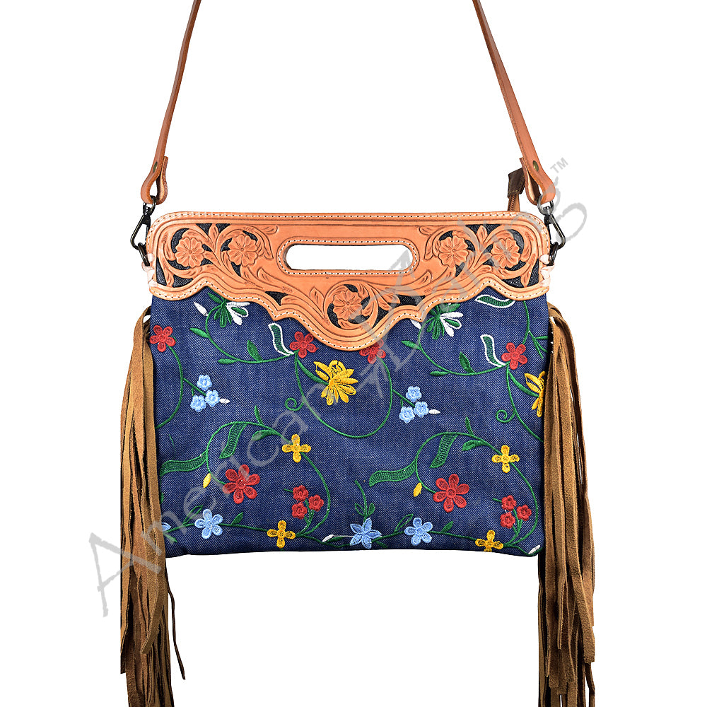 American Darling - Saddle Bag - Denim with Floral Embroidery