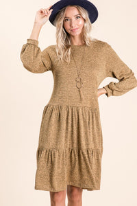 Camel Fluff Sleeve Midi Dress