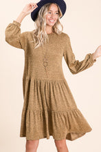 Load image into Gallery viewer, Camel Fluff Sleeve Midi Dress
