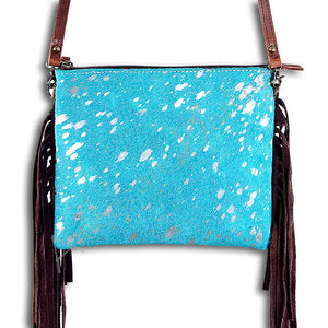 American Darling - Purse- Cow Hide with Turquoise and Fringe