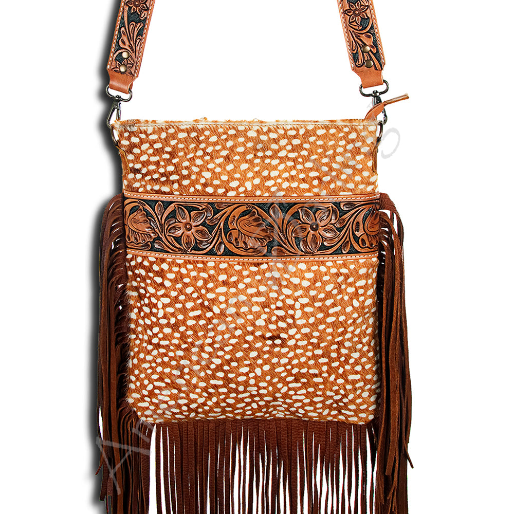 American Darling - Bucket Purse - Brown and White Deer Leather with Brown Fringes
