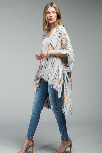 Woven Kimono & Colored Stripes - White with Multi Color Stripes