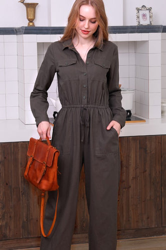 Cotton Utility Button Down Jumpsuit - Olive