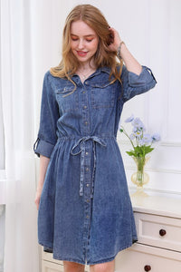 Button Up Chambray Dress with a Drawstring - Mid Blue