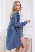 Load image into Gallery viewer, Button Up Chambray Dress with a Drawstring - Mid Blue