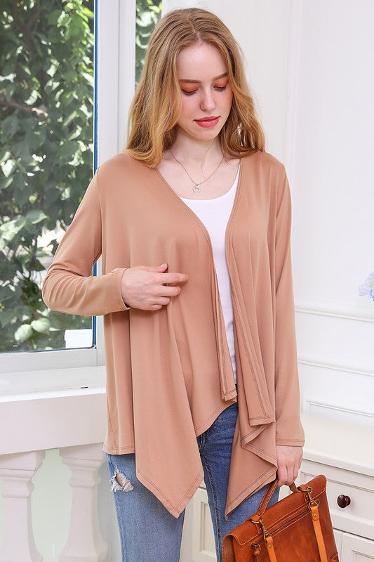 Flowy Long Sleeve Handkerchief Cardigan - Tan