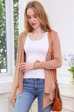 Load image into Gallery viewer, Flowy Long Sleeve Handkerchief Cardigan - Tan