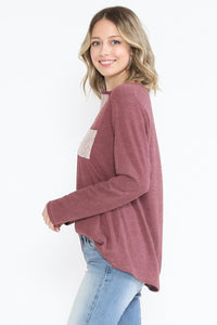 Solid V-Neck Top with Sparkly Contrasted V-Neck and Pocket - Burgundy