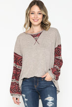 Load image into Gallery viewer, Solid Heathered Oatmeal Top with Aztec Printed Long Sleeves