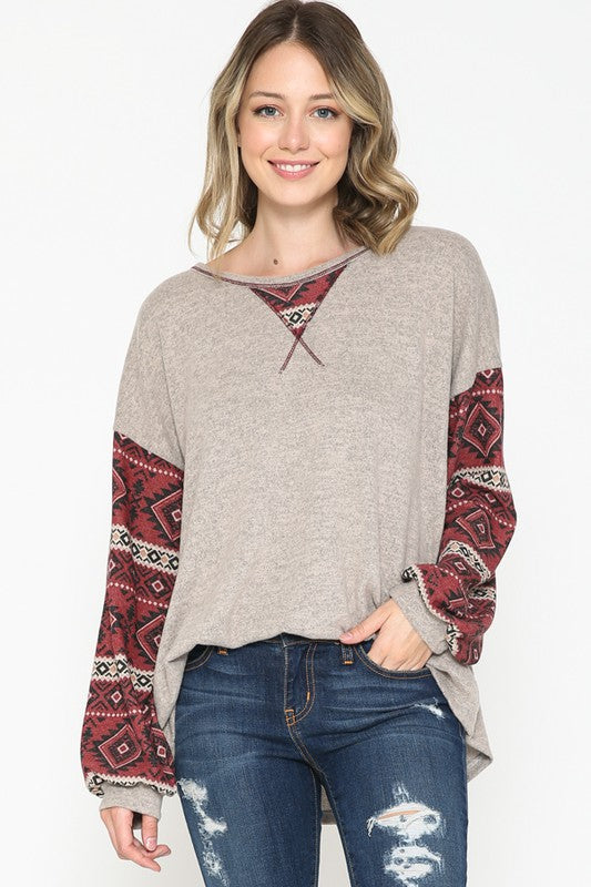 Solid Heathered Oatmeal Top with Aztec Printed Long Sleeves