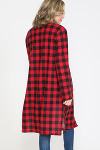 Buffalo Plaid Cardigan with Pockets - Red and Black