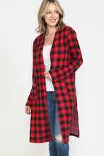 Load image into Gallery viewer, Buffalo Plaid Cardigan with Pockets - Red and Black