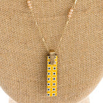 Blue and Gold Bar Necklace