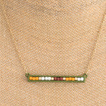 Load image into Gallery viewer, Olive Color Block Bar Pendant Necklace