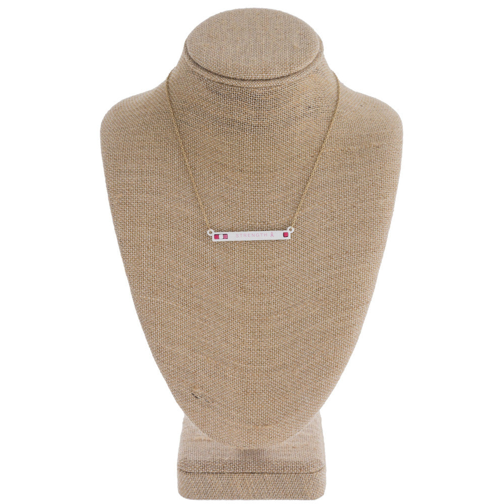 Breast Cancer Awareness Bar Necklace