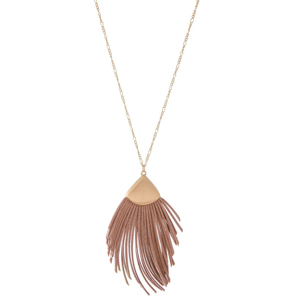 Long Gold Necklace with Faux Lather Tassel - Dusty Pink