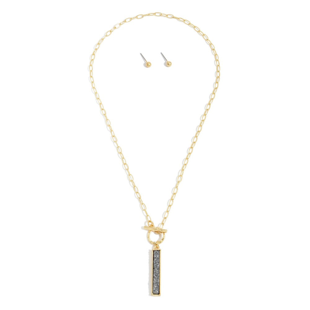 Gold Toggle Bar Necklace - Hematite Druzy