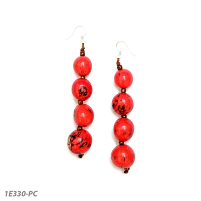 Tagua - Bombona Berry Earrings - Red and Brown