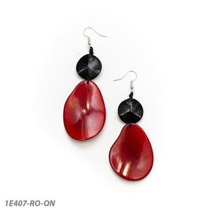 Tagua - Peggy Earring - Red & Black