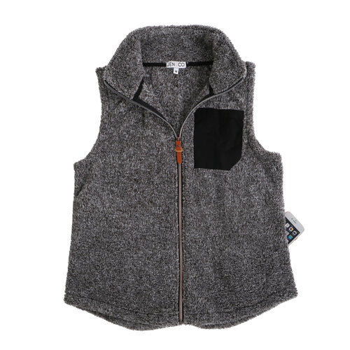 Black Front Patch Sherpa Vest